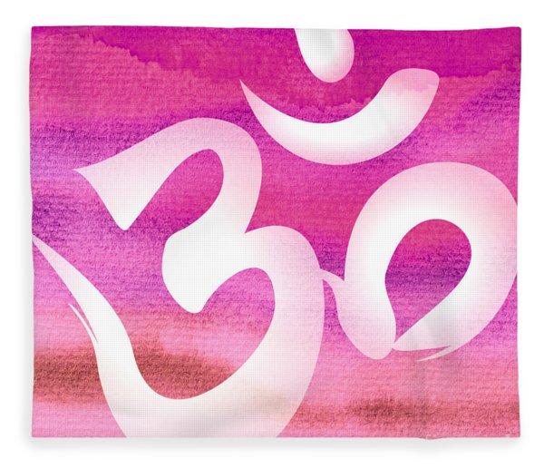 Om Symbol. Pink Fleece Blanket