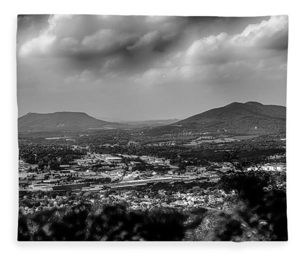 Fleece Blanket featuring the photograph Roanoke City As Seen From Mill Mountain Star At Dusk In Virginia by Alex Grichenko