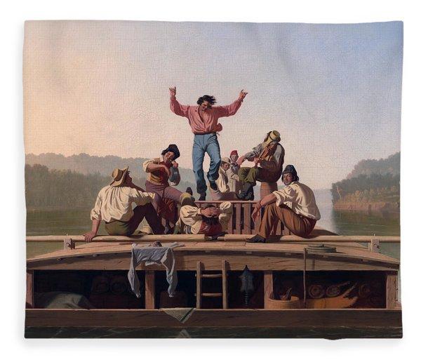 The Jolly Flatboatmen Fleece Blanket