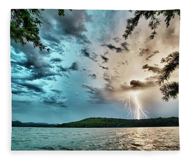 Fleece Blanket featuring the photograph Beautiful Landscape Scenes At Lake Jocassee South Carolina by Alex Grichenko