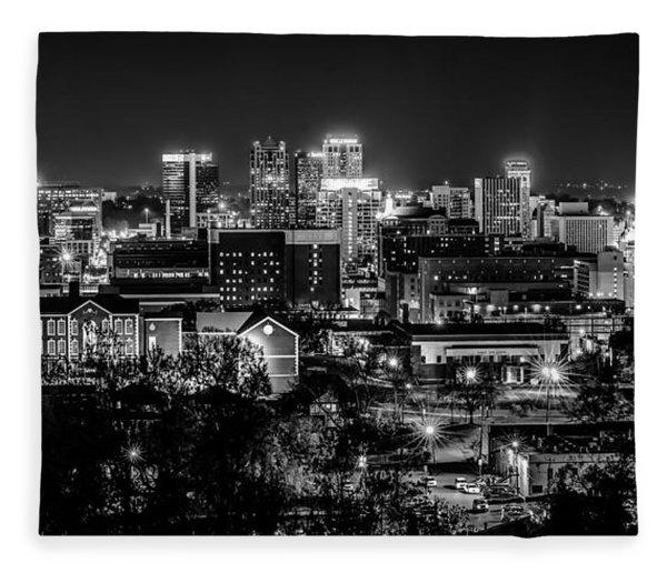 Fleece Blanket featuring the photograph Birmingham Alabama Evening Skyline by Alex Grichenko