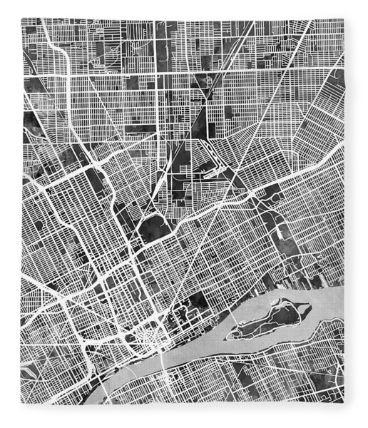 Detroit Michigan City Map Fleece Blanket