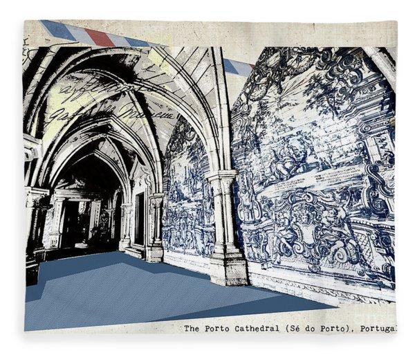 stylish retro postcard of Porto Fleece Blanket