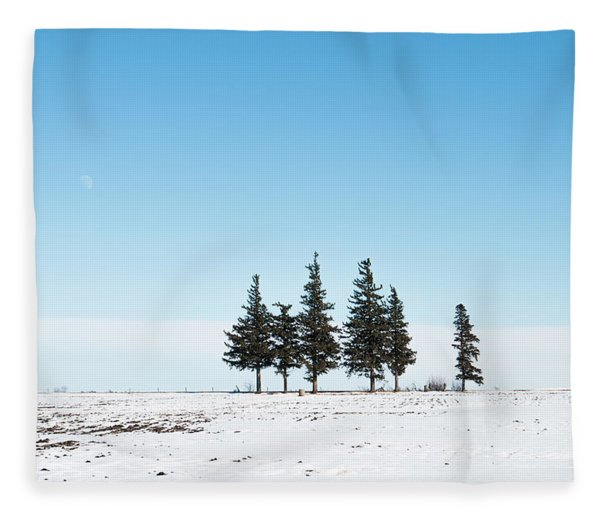 6 Pines And The Moon Fleece Blanket