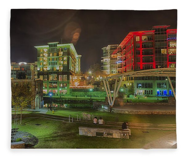 Fleece Blanket featuring the photograph Greenville South Carolina Near Falls Park River Walk At Nigth. by Alex Grichenko