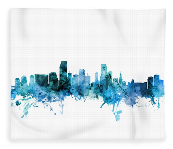 Miami Florida Skyline Fleece Blanket