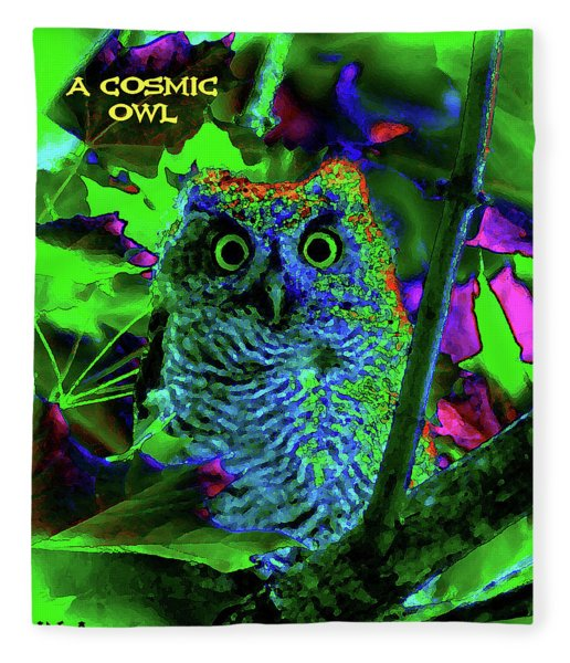 A Cosmic Owl In A Psychedelic Forest Fleece Blanket