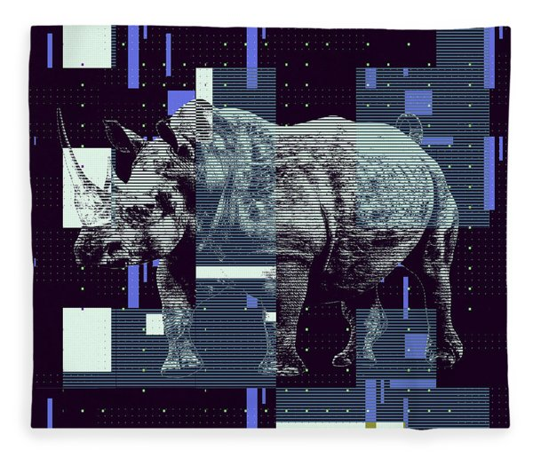 A Geometric Rhinoceros. Fleece Blanket