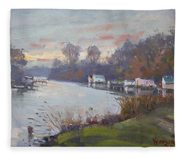 A Gray Sunset At Mayors Park Fleece Blanket