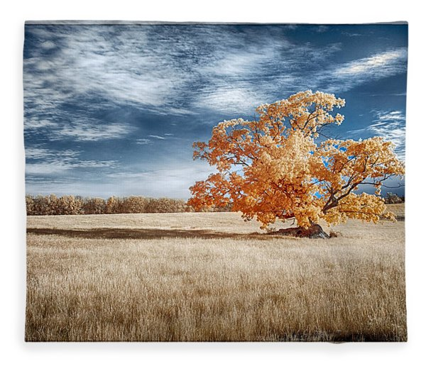 A Lone Tree Fleece Blanket
