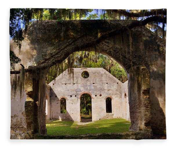 A Look Into The Chapel Of Ease St. Helena Island Beaufort Sc Fleece Blanket