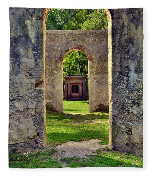 A Look Through Chapel Of Ease St. Helena Island Beaufort Sc Fleece Blanket