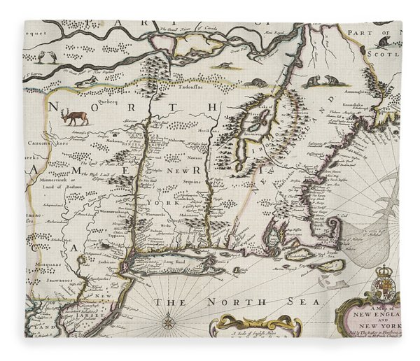 A Map Of New England And New York Fleece Blanket