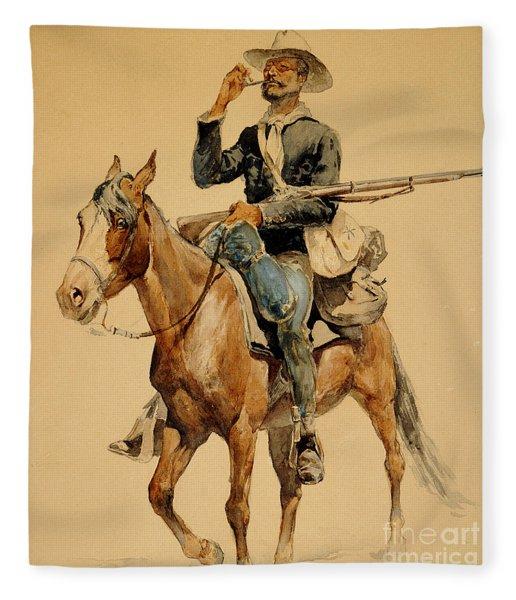 A Mounted Infantryman Fleece Blanket