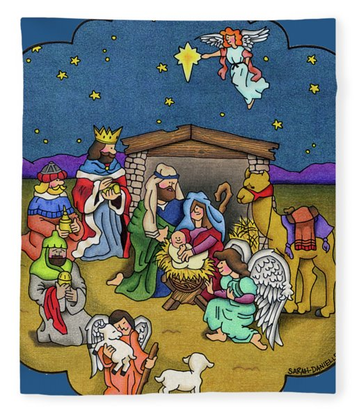 A Nativity Scene Fleece Blanket