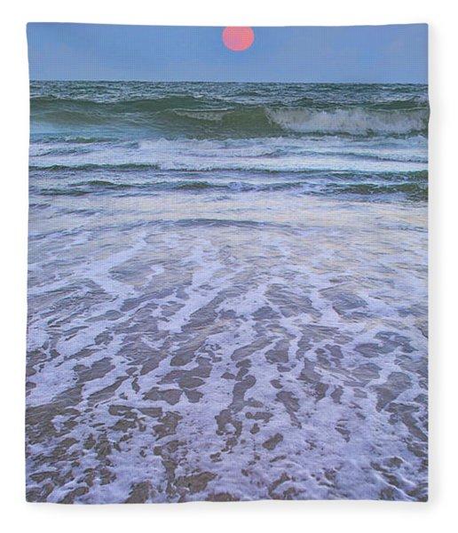 A Pink Moon Hdr Fleece Blanket