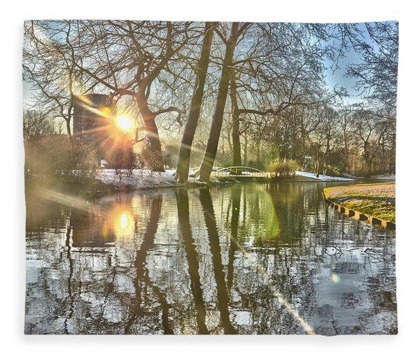 A Pond In Rotterdam Fleece Blanket