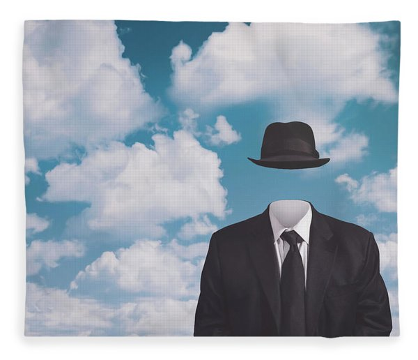 A Riff On Magrittes The Pilgrim Fleece Blanket
