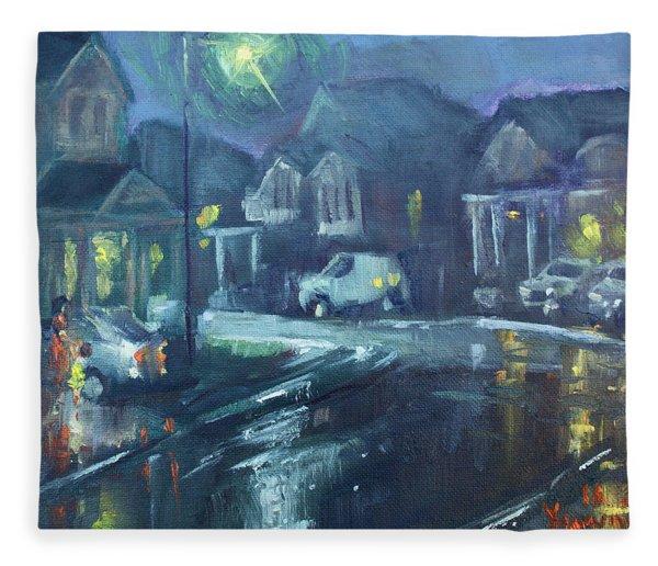 A Summer Rainy Night Fleece Blanket