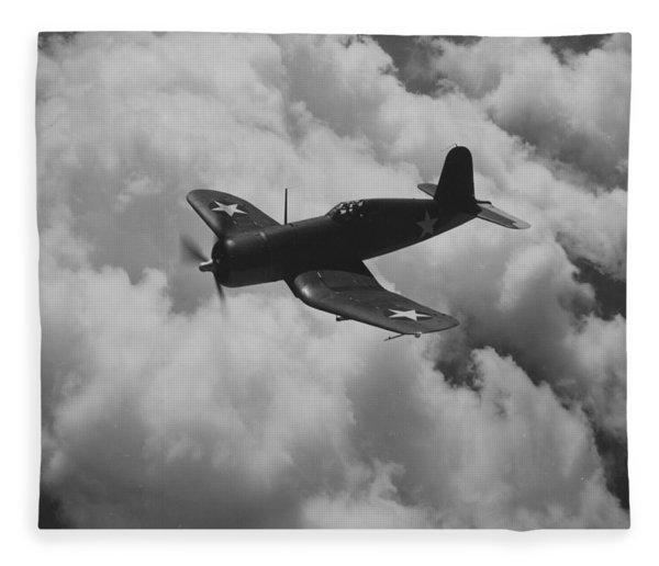 A Us Navy Fighter Corsair In Flight Fleece Blanket
