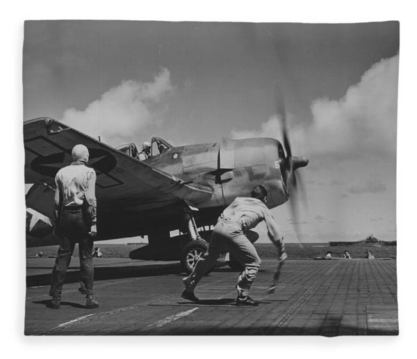 A Us Navy Fighter Pilot Gets The Take Off Flag From The Deck Crew Of An Aircraft Carrier Fleece Blanket