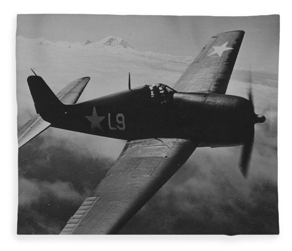 A Us Navy Hellcat Fighter Aircraft In Flight Fleece Blanket