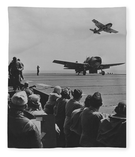 A Us Navy Hellcat Fighter Aircraft Landing On The Deck Of A Carrier Fleece Blanket