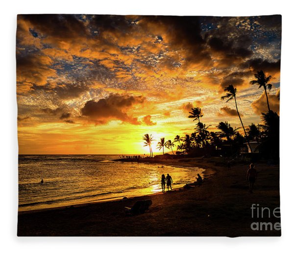 A Walk On The Beach Fleece Blanket
