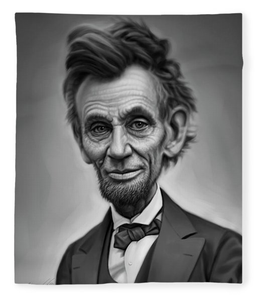 Abraham Lincoln Caricature Portrait Fleece Blanket