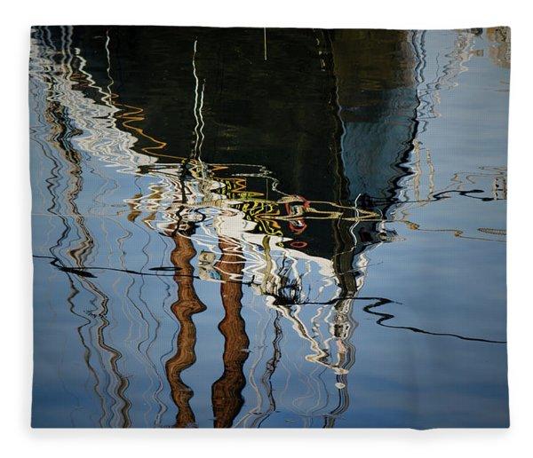 Abstract Boat Reflection IIi Fleece Blanket