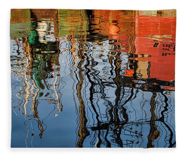Abstract Boat Reflections Iv Fleece Blanket