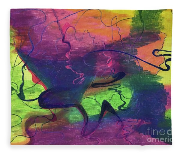 Colorful Abstract Cloud Swirling Lines Fleece Blanket