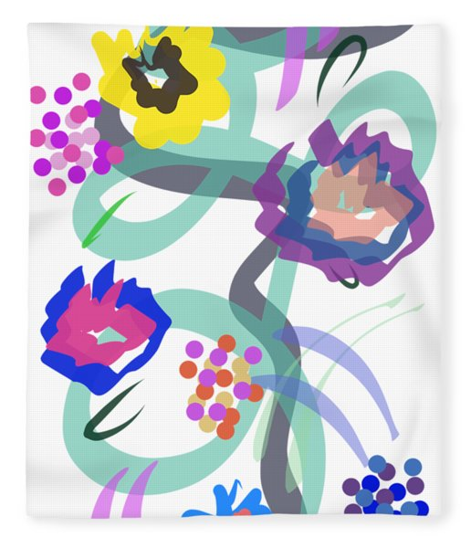 Fleece Blanket featuring the digital art Abstract Garden Nr 4 by Bee-Bee Deigner