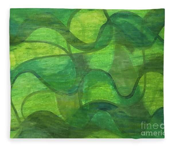 Abstract Green Wave Connection Fleece Blanket