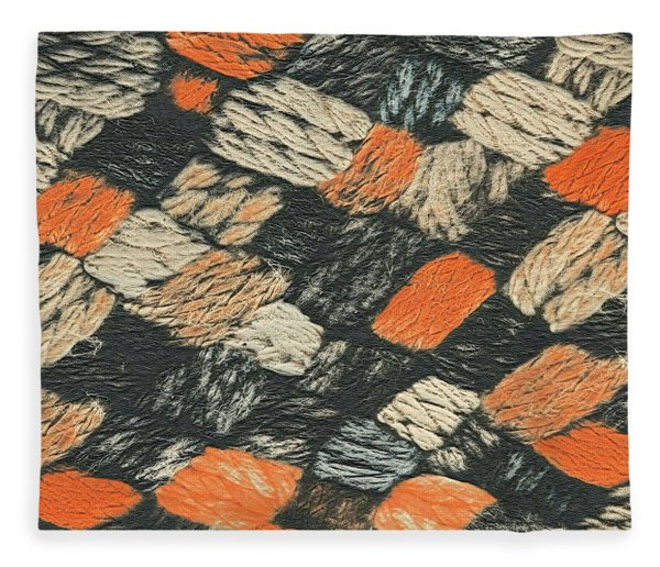 Abstract Pattern Black And Orange Fleece Blanket