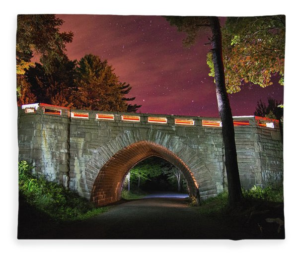 Acadia Carriage Bridge Under The Stars Fleece Blanket