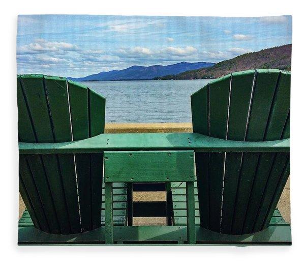 Adirondack Chair For Two Fleece Blanket