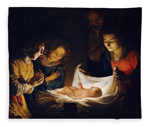 Adoration Of The Child Fleece Blanket