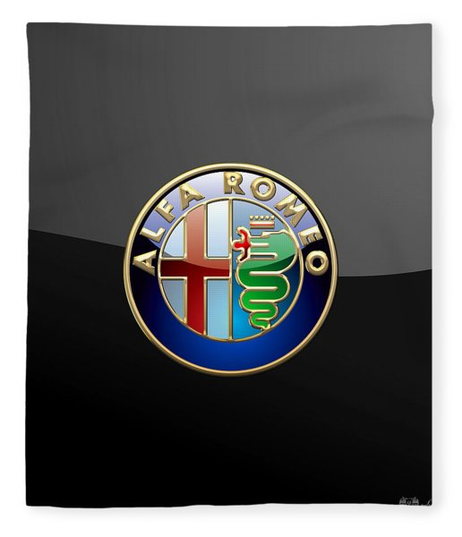 Alfa Romeo - 3 D Badge On Black Fleece Blanket
