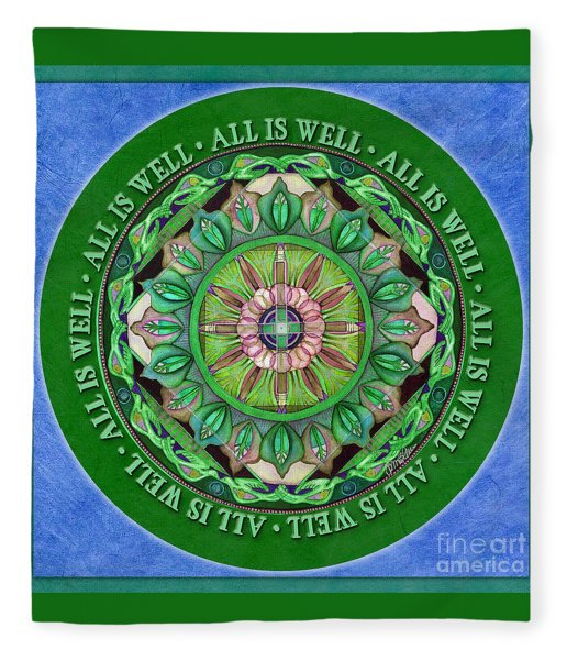 All Is Well Mandala Prayer Fleece Blanket