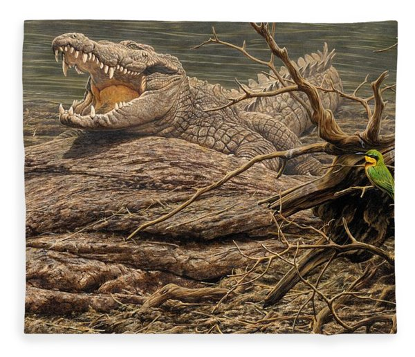 Fleece Blanket featuring the painting Alligator by Alan M Hunt