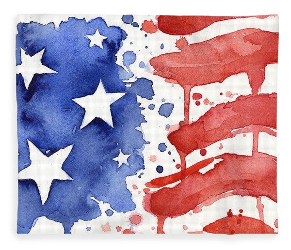 American Flag Watercolor Painting Fleece Blanket