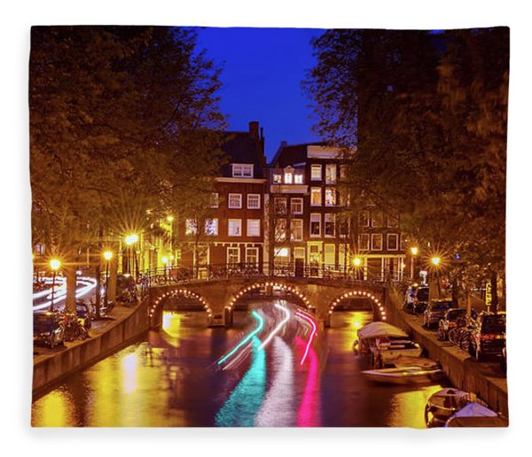 Fleece Blanket featuring the photograph Amsterdam By Night by Barry O Carroll