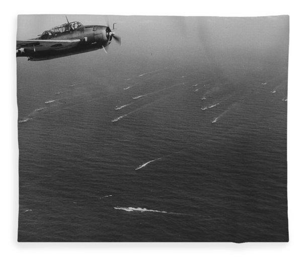 An Avenger Aircraft On Patrol  Fleece Blanket