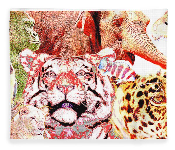 Animal Collage Digital Art Fleece Blanket