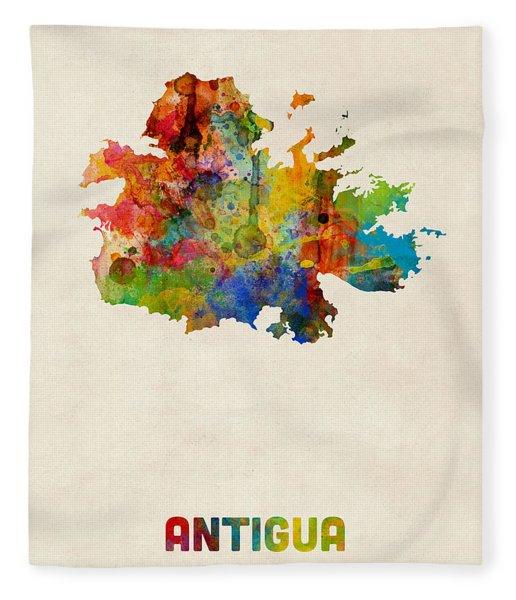 Antigua Watercolor Map Fleece Blanket