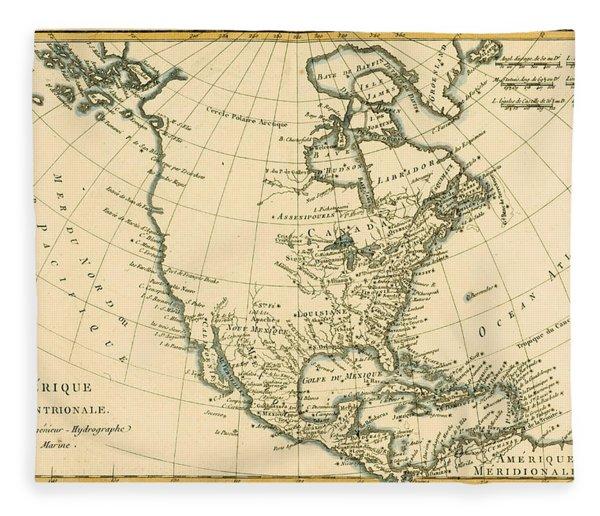 Antique Map Of North America Fleece Blanket