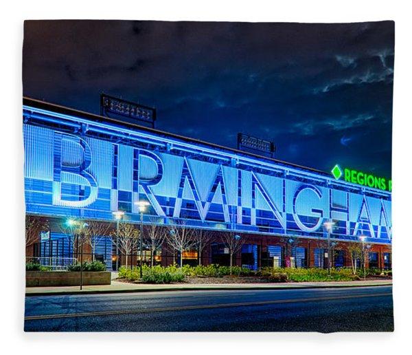Fleece Blanket featuring the photograph April 2015 -  Birmingham Alabama Baseball Regions Field At Night by Alex Grichenko