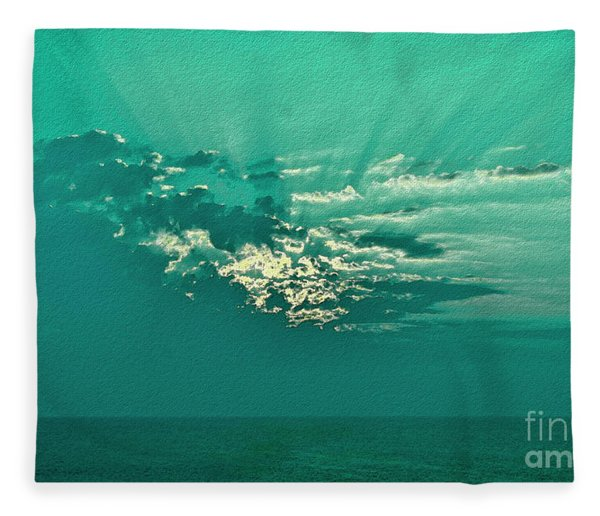 Aqua Sunset Fleece Blanket