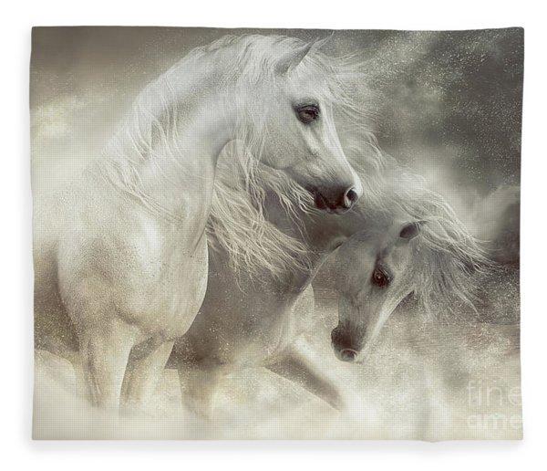 Arabian Horses Sandstorm Fleece Blanket